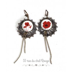 Orecchini, tanto desiderati, piuttosto rosso e nero papavero, gioielli per le donne, bronzo