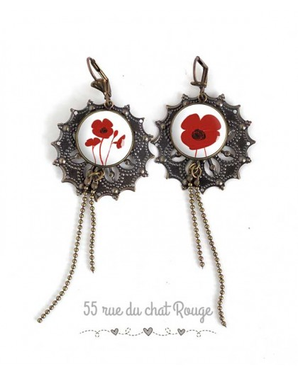 Earrings, Long for, pretty red and white poppy, jewelery for women, bronze