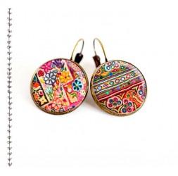 Boucles d'oreilles, Patchwork de couleur,  esprit folklore ethnique, bijoux pour femme, bronze