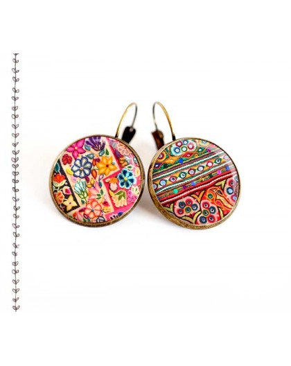 Earrings, colored patchwork ethnic folklore spirit, jewelery for women, bronze