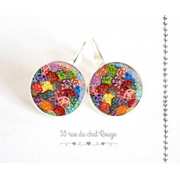 Boucles d'oreilles, Vagues japonaise, multicouleur, bijoux pour femme, argentée