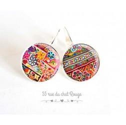 Boucles d'oreilles, Patchwork de couleur,  esprit folklore ethnique, bijoux pour femme, argentée