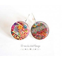 Earrings, colored patchwork ethnic folklore spirit, jewelery for women, silver