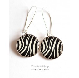 Earrings, Animal skin, zebra, black and white, epoxy resin, silver