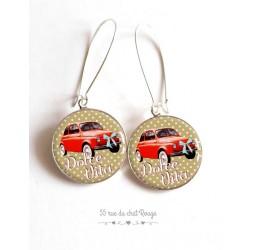 Pendientes, Dolce Vita, Fiat 500 de color rojo, aire Italia, joyería para las mujeres de bronce