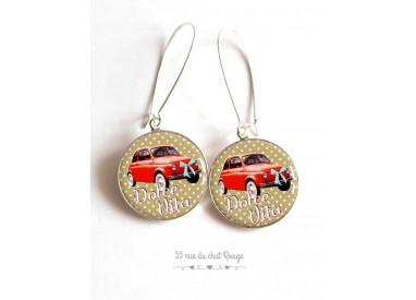 Earrings, Dolce Vita, Fiat 500 red, air Italy, jewelry for women bronze