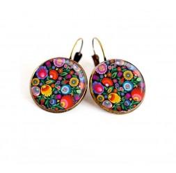 Boucles d'oreilles, illustration fleuri, multicouleur, folklore russe, bijoux pour femme, bronze