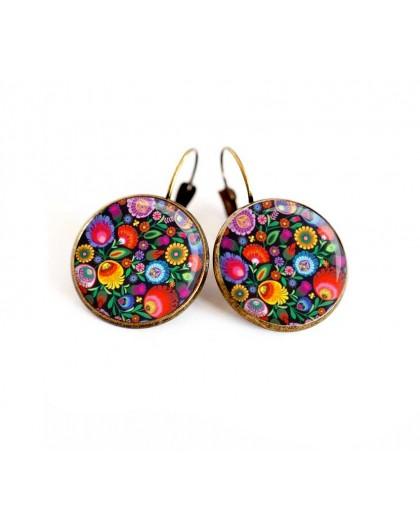 Earrings, floral illustration, multicolor, Russian folklore, jewelry for women bronze
