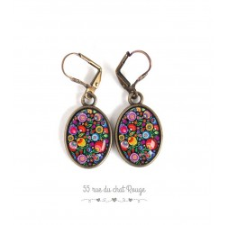 Earrings, oval, floral illustration, multicolor, Russian folklore, jewelry for women bronze